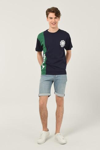 CERES Lacivert Oversize Bisiklet Yaka Baskılı Erkek T-shirt - Thumbnail (2)