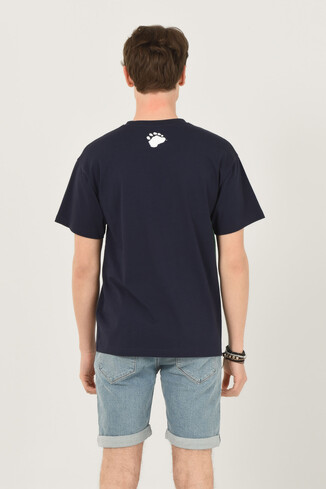 CERES Lacivert Oversize Bisiklet Yaka Baskılı Erkek T-shirt - Thumbnail (3)