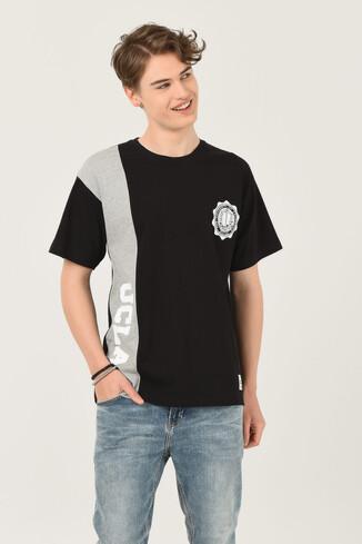 UCLA - CERES Siyah Oversize Bisiklet Yaka Baskılı Erkek T-shirt