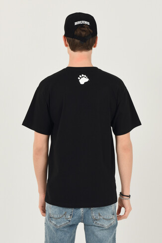 CERES Siyah Oversize Bisiklet Yaka Baskılı Erkek T-shirt - Thumbnail (3)