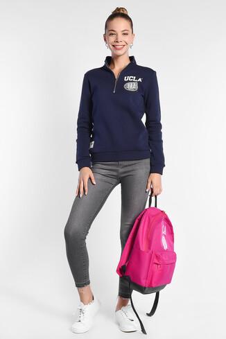 UCLA - CLARITA Lacivert Yarım Fermuarlı Baskılı Kadın Sweatshirt