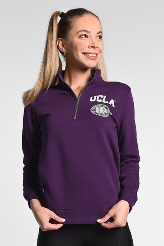 UCLA - CLARITA Mor Yarım Fermuarlı Baskılı Kadın Sweatshirt