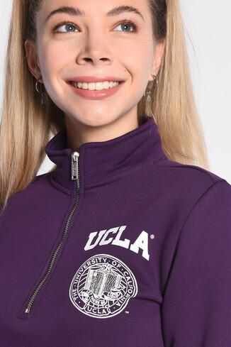 UCLA - CLARITA Mor Yarım Fermuarlı Baskılı Kadın Sweatshirt (1)