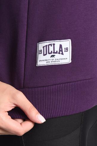 CLARITA Mor Yarım Fermuarlı Baskılı Kadın Sweatshirt - Thumbnail (3)