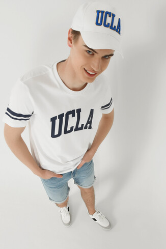 UCLA - COLUSA Beyaz Bisiklet Yaka Erkek T-shirt