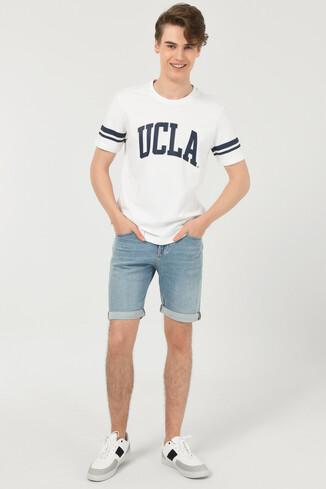 COLUSA Beyaz Bisiklet Yaka Erkek T-shirt - Thumbnail (2)