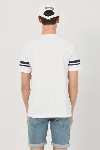 COLUSA Beyaz Bisiklet Yaka Erkek T-shirt - Thumbnail (3)