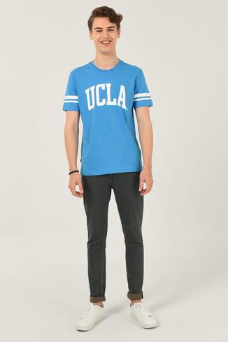 COLUSA Mavi Bisiklet Yaka Erkek T-shirt - Thumbnail (2)