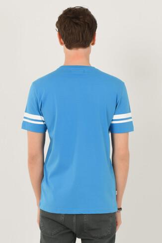COLUSA Mavi Bisiklet Yaka Erkek T-shirt - Thumbnail (3)