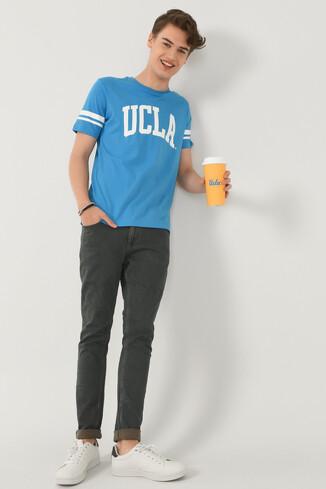 COLUSA Mavi Bisiklet Yaka Erkek T-shirt - Thumbnail (4)