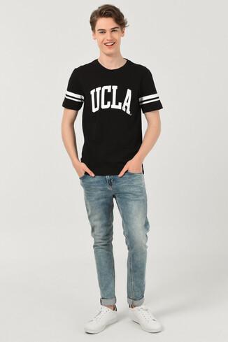 COLUSA Siyah Bisiklet Yaka Erkek T-shirt - Thumbnail (2)