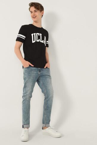 COLUSA Siyah Bisiklet Yaka Erkek T-shirt - Thumbnail (4)