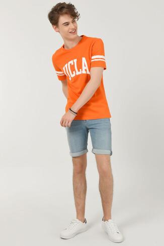 COLUSA Turuncu Bisiklet Yaka Erkek T-shirt - Thumbnail (2)