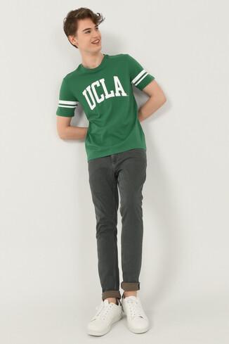 COLUSA Yeşil Bisiklet Yaka Erkek T-shirt - Thumbnail (4)