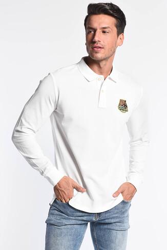 UCLA - COMPTON Beyaz Polo Yaka Nakışlı Erkek Sweatshirt