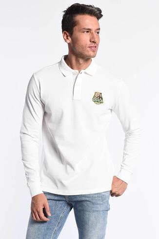 COMPTON Beyaz Polo Yaka Nakışlı Erkek Sweatshirt - Thumbnail (2)