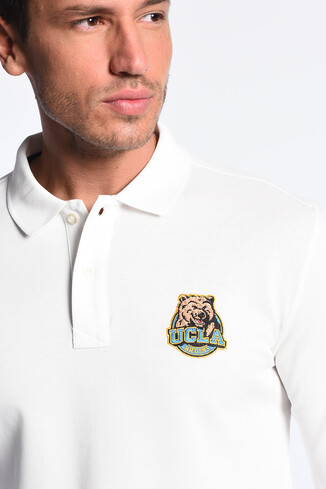 UCLA - COMPTON Beyaz Polo Yaka Nakışlı Erkek Sweatshirt (1)