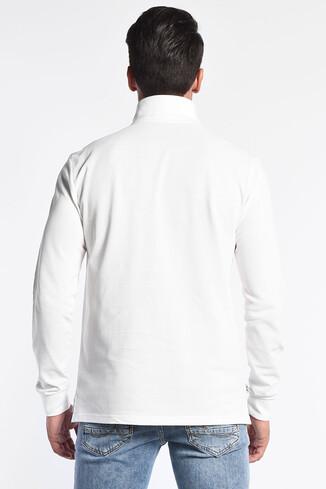 COMPTON Beyaz Polo Yaka Nakışlı Erkek Sweatshirt - Thumbnail (4)