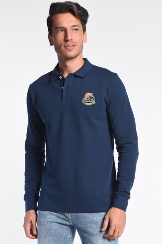 UCLA - COMPTON Lacivert Polo Yaka Nakışlı Erkek Sweatshirt