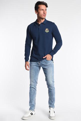 COMPTON Lacivert Polo Yaka Nakışlı Erkek Sweatshirt - Thumbnail (2)