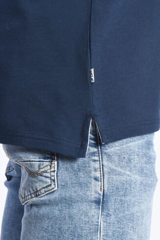 COMPTON Lacivert Polo Yaka Nakışlı Erkek Sweatshirt - Thumbnail (3)