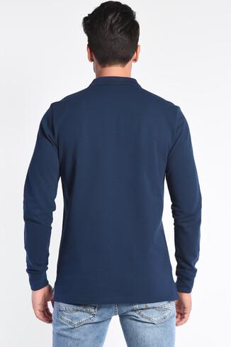 COMPTON Lacivert Polo Yaka Nakışlı Erkek Sweatshirt - Thumbnail (4)