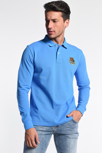 UCLA - COMPTON Mavi Polo Yaka Nakışlı Erkek Sweatshirt