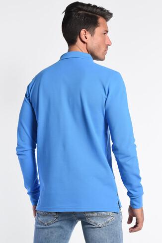 COMPTON Mavi Polo Yaka Nakışlı Erkek Sweatshirt - Thumbnail (4)