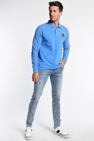 COMPTON Mavi Polo Yaka Nakışlı Erkek Sweatshirt - Thumbnail (2)
