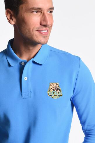 UCLA - COMPTON Mavi Polo Yaka Nakışlı Erkek Sweatshirt (1)