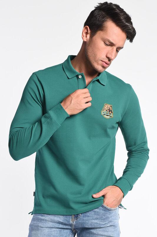 COMPTON Yeşil Polo Yaka Nakışlı Erkek Sweatshirt - Thumbnail