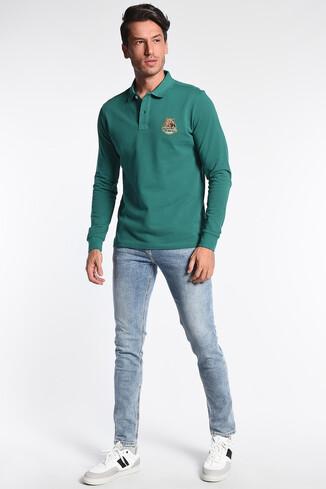 COMPTON Yeşil Polo Yaka Nakışlı Erkek Sweatshirt - Thumbnail (2)