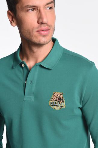UCLA - COMPTON Yeşil Polo Yaka Nakışlı Erkek Sweatshirt (1)