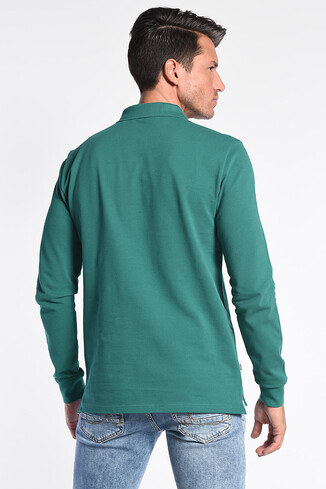 COMPTON Yeşil Polo Yaka Nakışlı Erkek Sweatshirt - Thumbnail (4)