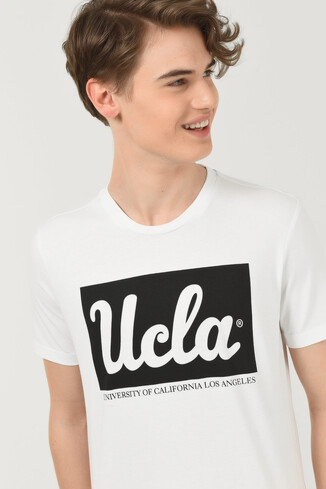 UCLA - DAVIS Beyaz Bisiklet Yaka Erkek T-shirt (1)