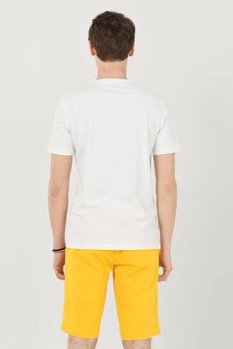 DAVIS Beyaz Bisiklet Yaka Erkek T-shirt - Thumbnail (3)