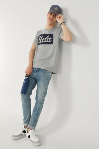 UCLA - DAVIS Gri Bisiklet Yaka Erkek T-shirt