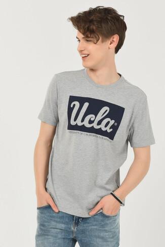 UCLA - DAVIS Gri Bisiklet Yaka Erkek T-shirt (1)