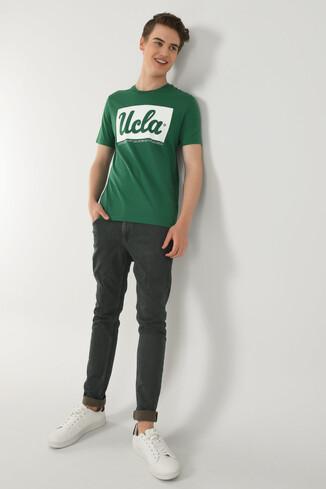 UCLA - DAVIS Yeşil Bisiklet Yaka Erkek T-shirt