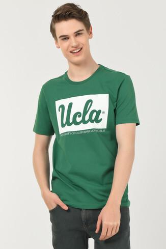 UCLA - DAVIS Yeşil Bisiklet Yaka Erkek T-shirt (1)