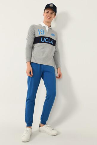 UCLA - DELMAR Gri Polo Yaka Baskılı Erkek Sweatshirt