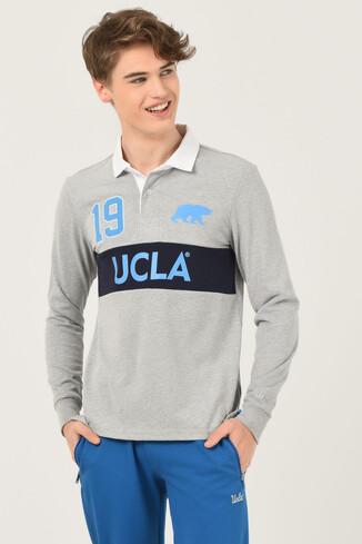 UCLA - DELMAR Gri Polo Yaka Baskılı Erkek Sweatshirt (1)