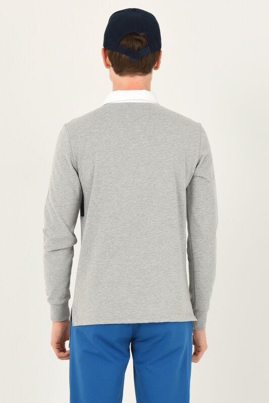 DELMAR Gri Polo Yaka Baskılı Erkek Sweatshirt - Thumbnail