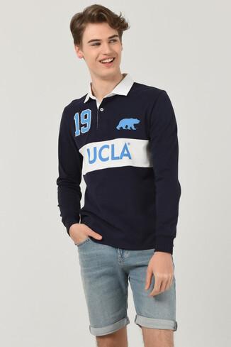 UCLA - DELMAR Lacivert Polo Yaka Baskılı Erkek Sweatshirt