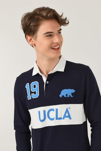 UCLA - DELMAR Lacivert Polo Yaka Baskılı Erkek Sweatshirt (1)