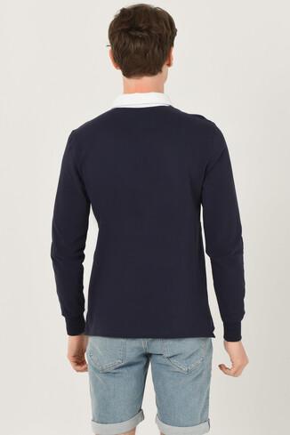 DELMAR Lacivert Polo Yaka Baskılı Erkek Sweatshirt - Thumbnail (3)