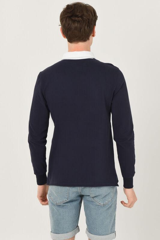 DELMAR Lacivert Polo Yaka Baskılı Erkek Sweatshirt - Thumbnail
