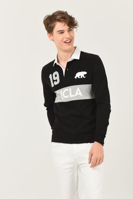 DELMAR Siyah Polo Yaka Baskılı Erkek Sweatshirt - Thumbnail