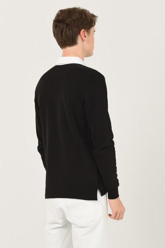DELMAR Siyah Polo Yaka Baskılı Erkek Sweatshirt - Thumbnail (3)