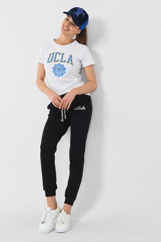 UCLA - DIMAS Siyah Daralan Kesim Nakışlı Kadın Eşofman Alt